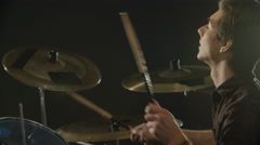 Slow Motion Sequence Of Drummer Playing Drum Kit - stock footage