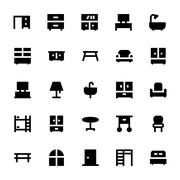 Furniture Vector Icons - stock illustration