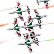 Italian aerobatic team Frecce Tricolori in the Netherlands - stock photo