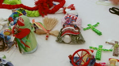 Making Russian handcrafted souvenirs toy on table Stock Footage