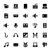 Music, Audio, Video, Cinema and Multimedia Vector Icons Pack Stock Illustration