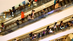 Escalator 4k shopping mall crowd people buy shop time lapse timelapse sale shops Stock Footage