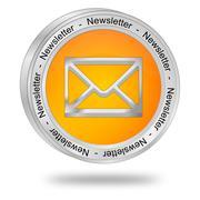 Newsletter Button - 3D illustration - stock illustration
