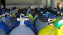 4K Scuba Dive Tanks Rack Focus Stock Footage