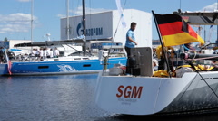 German team prepares the yacht to Nord Stream Race 2016 Stock Footage