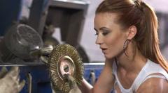 Glamor fashion girl model enjoys tool Stock Footage