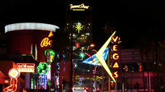 Fremont Street East District / Neon Signs at Night - Las Vegas Stock Footage