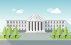Front view of university or government building in flat style. Stock Illustration