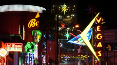 Zoom Out - Fremont Street East District / Neon Signs at Night - Las Vegas Stock Footage