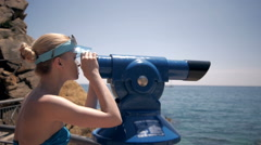 Beautiful girl looking on sea, tourist on vacation6 perfect view, slim model - stock footage