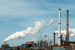 Steelwork chimneys , IJmuiden, Netherlands - stock photo