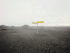 Blank direction sign in empty landscape - stock photo