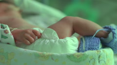 A preterm newborn baby in perinatal centre, premature child Stock Footage
