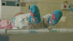 A newborn baby in hospital Stock Footage