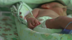 A newborn baby in reanimation, premature child Stock Footage