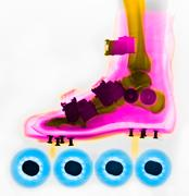 Colorized x-ray of foot inside a rollerblade skate Stock Photos