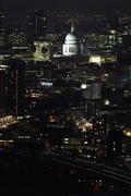 Aerial view of St Pauls at night,  London, UK Stock Photos