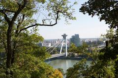 UFO bridge over the Danube river, Bratislava, Slovakia - stock photo