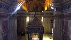 Basilica of Sant Bonifacio e Alessio in Rome, Italy. Interior, Drone approaches - stock footage