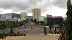 Morning traffic view of Le Hong Phong street in Vung Tau city Stock Footage