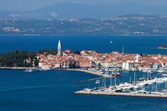 Aerial view of harbor in coastal city Stock Photos