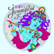 god lord Krishna with hand lettering inscription happy janmashtm - stock illustration