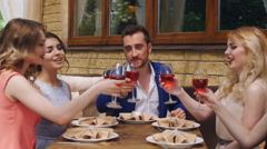 Good friends for dinner or lunch in a fine restaurant, clinking glasses Stock Footage