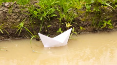 White paper boat Stock Footage