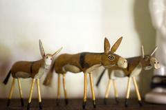 Three ornamental donkeys Stock Photos