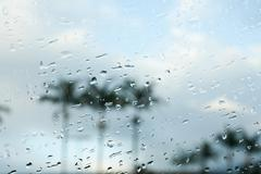 Raindrops on car window Stock Photos