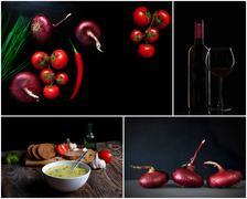 Fresh Vegetables, wine and other foodstuffs. dark background Stock Photos