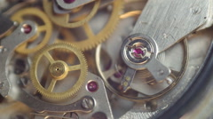 Metal cogwheels inside clockwork. Tick-Tick Sound Stock Footage