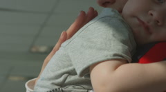 Mom with baby, close up, mother care Stock Footage