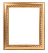 Frame gold for photo isolated on white background empty retro art design - stock photo