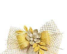 Bow ribbon gold detailed decorative glitter gift weave - stock photo