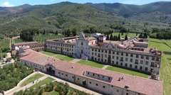 Charterhouse of Calci, province of Pisa, aerial view Stock Footage