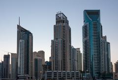 Dubai Marina at sunset. United Arab Emirates - stock photo