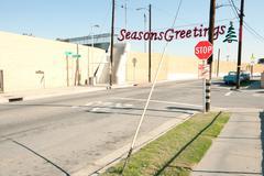 Seasons Greetings banner in bleak neighbourhood Stock Photos