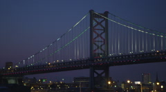 Ben Franklin Bridge Night - stock footage
