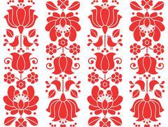 Kalocsai emrboidery red seamless patternn - floral folk art background - stock illustration