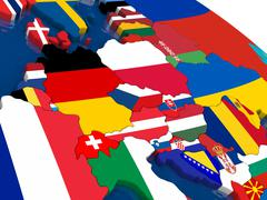 Central Europe on 3D map with flags - stock illustration