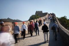 People walking on Great Wall of China Stock Photos