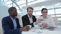 Business meeting in restaurant Stock Footage