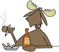 Moose in a bar - stock illustration