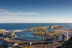 View of commercial port, Barcelona, Catalonia, Spain Stock Photos