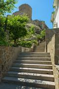 Genoese fortress Cembalo built beginning in 1357 - stock photo
