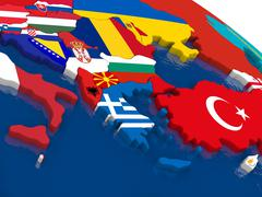 Greece on 3D map with flags Stock Illustration