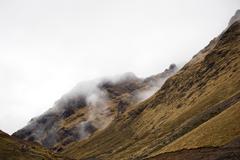 Climb to the mountain pass of Abra Tirihuayjasa, Andes, Peru - stock photo