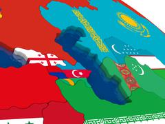 Caucasus region on 3D map with flags - stock illustration