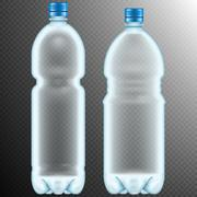 Plastic bottles. Transparent. EPS 10 - stock illustration
